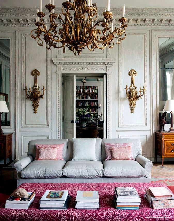 Bright Pink Ottoman & Pillows w/ Gold Victorian Sconces & Chandelier