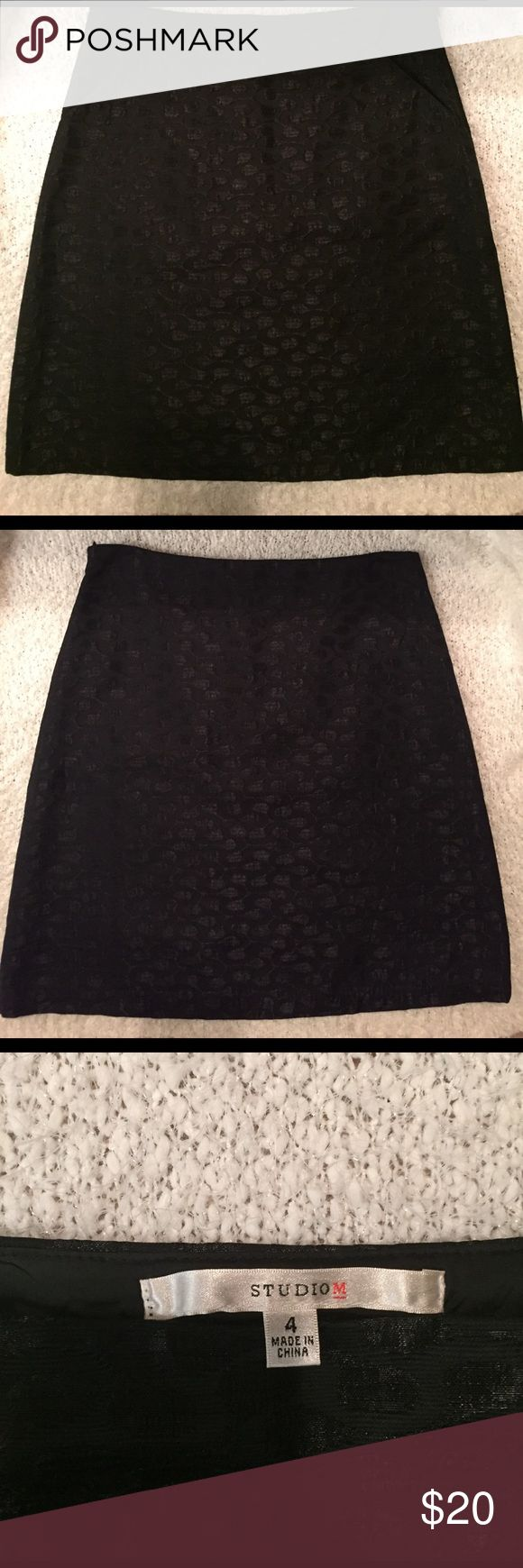 Studio M skirt Beautiful black skirt with unique pattern detail perfect for work or going out. Fits like Pencil skirt but not very tight on hips. Never worn because it's not my size. Studio M Skirts Pencil