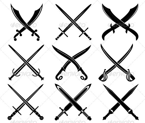 Set of Heraldic Swords and Sabers - Decorative Symbols Decorative
