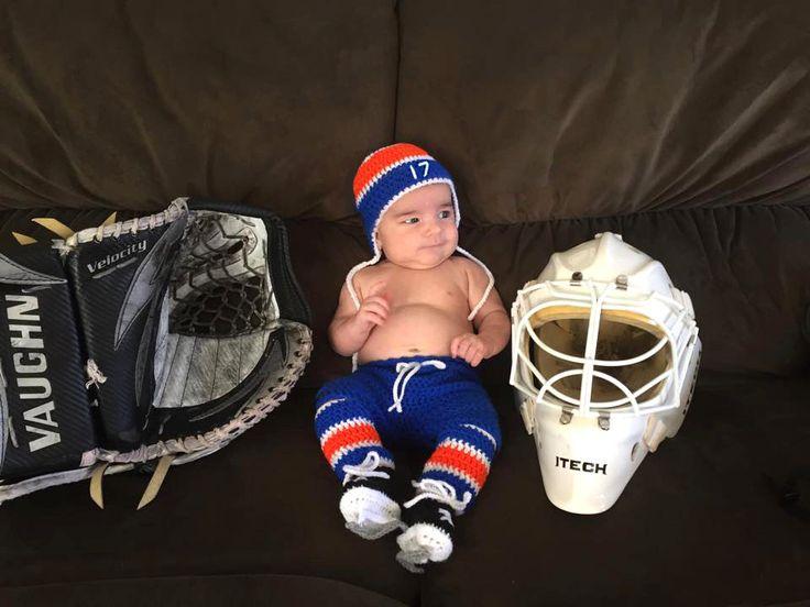 BABY HOCKEY OUTFIT Grandmabilt Newborn Hockey, Hat Hockey Baby Crochet, Oilers Paci not included, Blue Orange Hockey, Knit Baby Hockey Hat by Grandmabilt on Etsy
