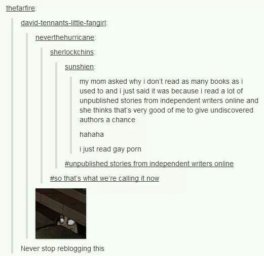 """Unpublished stories from independent writers online"" Lol. Best description of fanfic ever. <<< I actually saw this post. Hilarious."