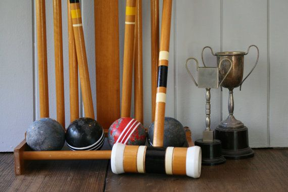 Croquet Set Lawn Games Mallets Balls with Stand Gift Sports or Man Cave Room Decor Wedding Garden Party Decor Photography Prop