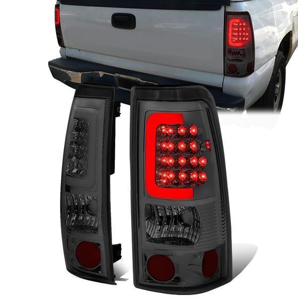 99 03 Chevy Silverado Gmc Sierra 1500 2500 3500 Led C Bar Tail Lights Smoked Tail Light Gmc Sierra 1500 Silverado