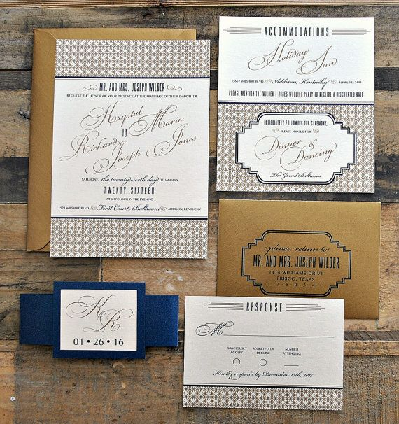 This is our Art Deco invitation suite! In the sample photo, we have used metallic ivory and navy cardstock with antique gold and navy ink with antique