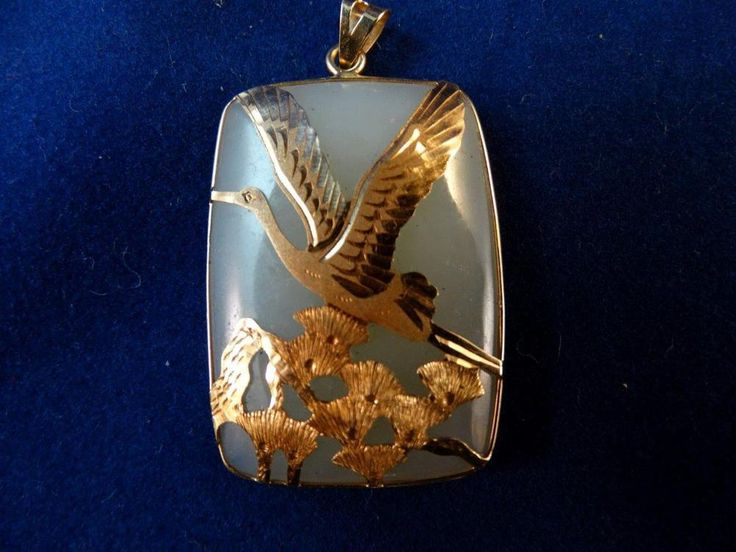 20 best chinese dragon pendants images on pinterest chinese antique chinese jade 14 kt yellow gold crane bird pendant mozeypictures Gallery