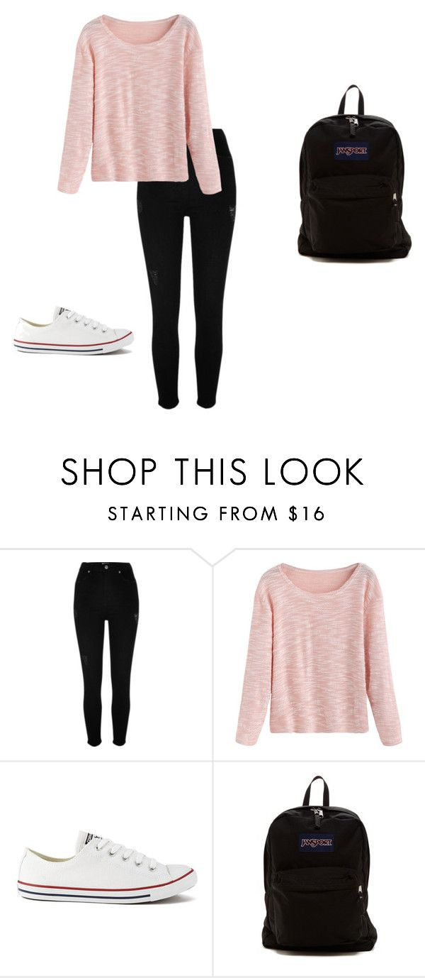 School outfit by zinnt on Polyvore featuring River Island, Converse and JanSport