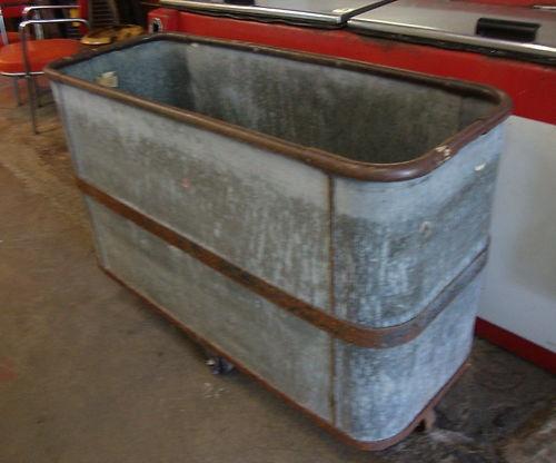 Vintage Industrial Metal Bin S On Wheels Great Planter