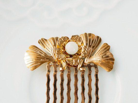 Chinees goud en Jade haar kam accessoire, traditionele Chinese haar juwelen, gouden Ginkgo blad haar kam, gouden haren kam