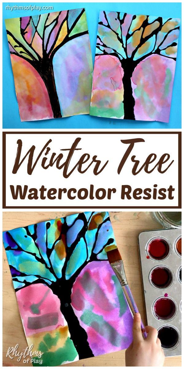 Winter Tree Silhouette Art Projects Winter Art Projects Kids