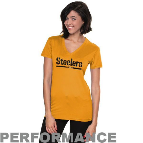 Nike Pittsburgh Steelers Womens Legend Wordmark V-Neck Performance T-Shirt - Gold - $14.99