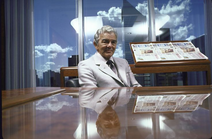 Gannett Company Chairman Allen H. Neuharth in his office.