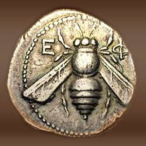 "Coin from Ephesus showing the honeybee (Melissa, ""Sweet"") symbol of the goddess Artemis."