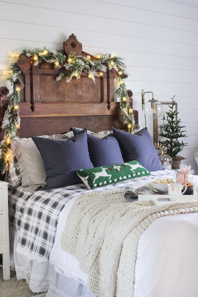 A Tour Of My Rustic Christmas Master Bedroom A Mixture Of Blue Gray