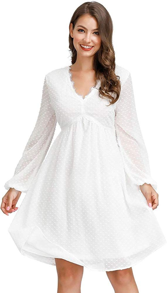 Jasambac Baby Shower Dress For Women With Sleeve White Short Dress Liner Size M In 2020 Long Sleeve Bridesmaid Dress White Dresses For Women Long Sleeve Chiffon Dress