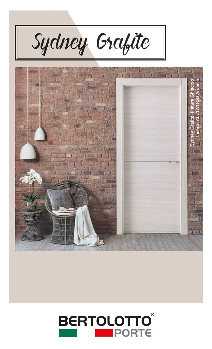 Sydney Grafite is a line of minimalist products with synthetic finish. Despite their affordable price, they boast blockboard wood frames, minimalist concealed hinges, magnetic locks and synthetic finishes with structured scratch-resistant surface. These doors come in three modern and trendy colours.The wood grain in relief creates mat and soft nuances that are pleasant to the touch and the sight.
