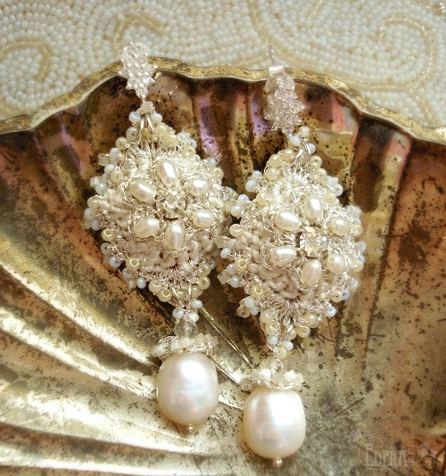 Ivory Silk, Silver Lace Flowers, Freshwater Pearls