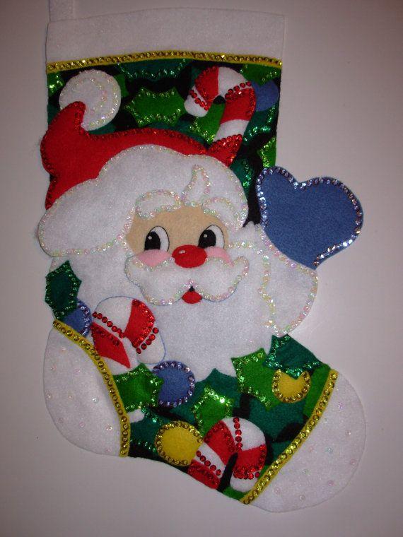 Finished Christmas Stocking Holly Jolly Santa by JoysofChristmas, $80.00