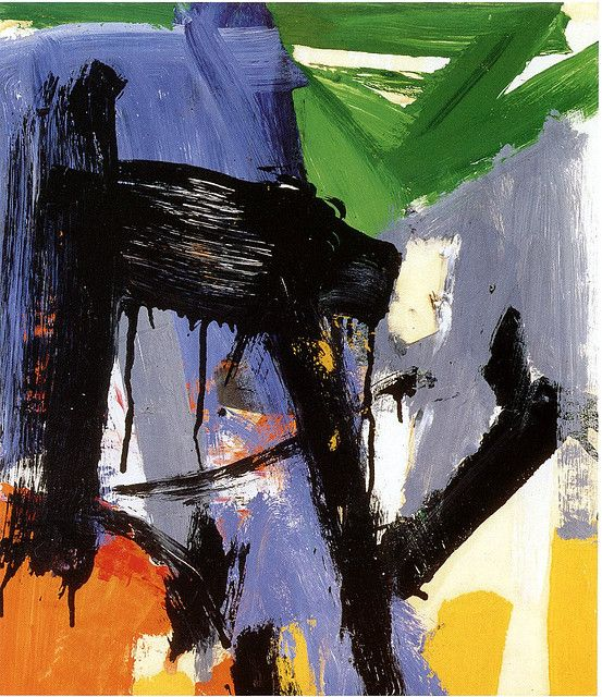 "1958 Untitled. Franz Kline (1910-1962)  was associated with abstract expressionist movement centered around NYC  in the 40s &1950s. He was labeled an ""action painter"" because of his seemingly spontaneous and intense style, focusing less, or not at all, on figures or imagery, but on the actual brush strokes and use of canvas. For most of Kline's work, however, he would prepare many draft sketches—notably, commonly on refuse telephone book pages—before going to make his ""spontaneous"" work."