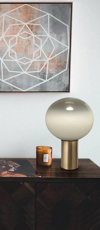Lampe A Poser Laguna Tavolo Transparent Fume Bronze Satine O16c