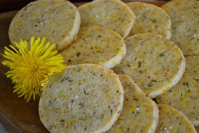 Just love the idea of these shortbread cookies. The recipe is quite familiar except for the cheese and dandelions. I have enough dandelions for this one.