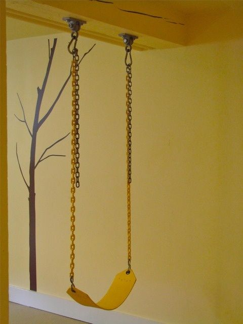 Love this idea during winter. :) A swing set up in a basement playroom. Great in the winter!