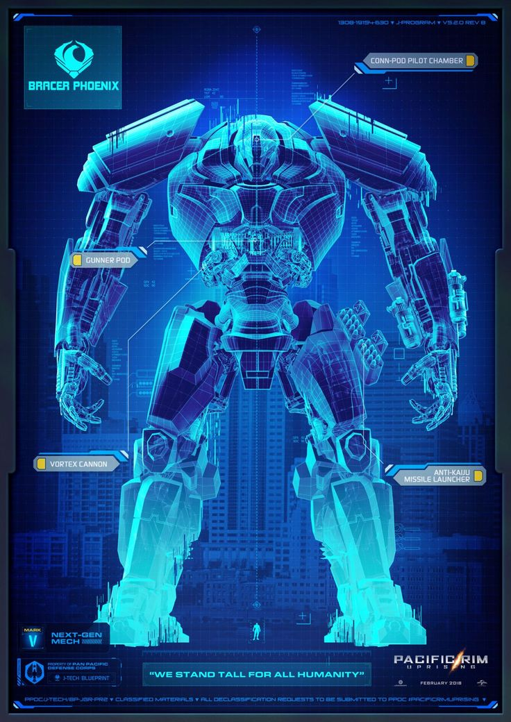 """PACIFIC RIM: UPRISING (2018) """"Bracer Phoenix"""" - A Mark V brute that can still run with the VI's, Bracer Phoenix shoots from the chest, with a centrifugal vortex cannon that is as spectacular as it is deadly. - PACIFIC RIM: UPRISING in theaters March 23, 2018"""
