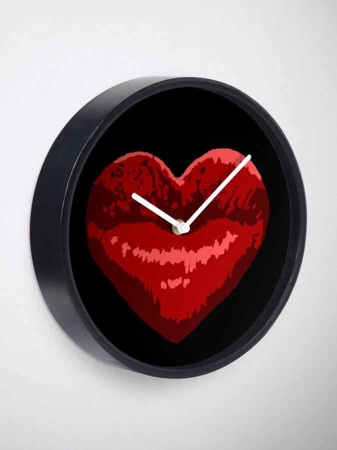 Red Heart Shaped Lips Clock Heart Shaped Lips Love Lips
