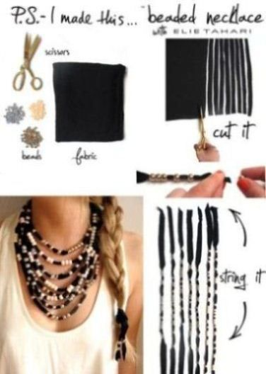 fabric and bead DIY necklace