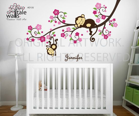 Girl monkey nursery blossom tree branch wall decal with for Baby girl room wall murals