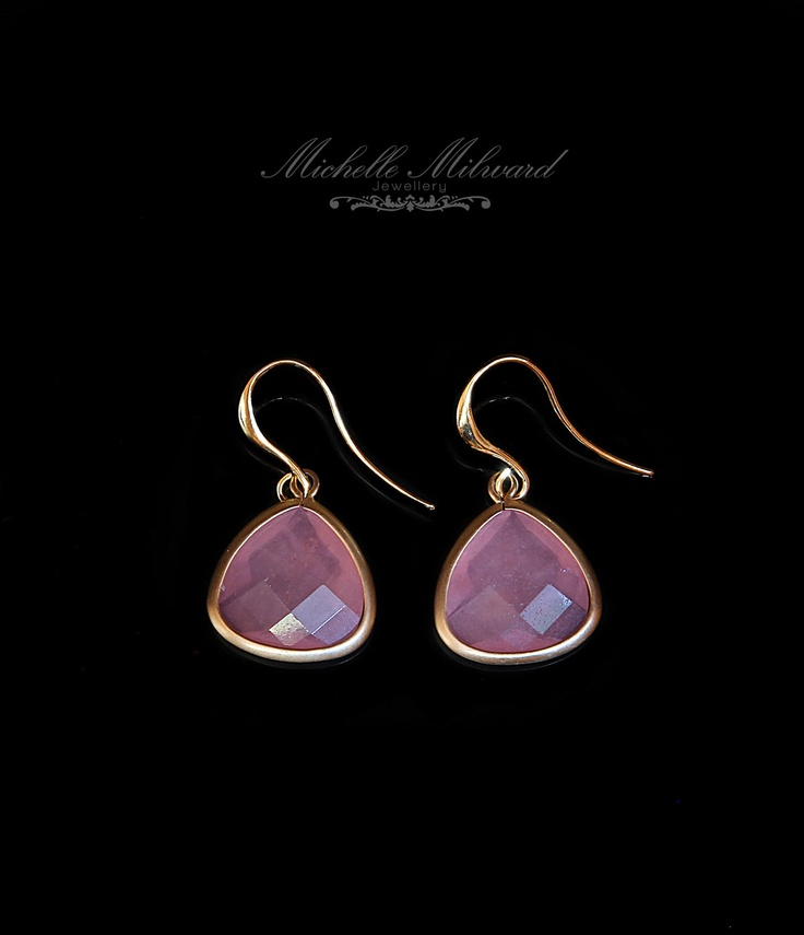 Gold-plated, agate gemstone earrings by Michelle Milward Jewellery.