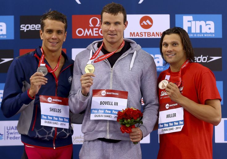 (L-R) Thomas Shields of the USA, George Bovell III of Trinidad and Tobago and Cody Miller of the USA