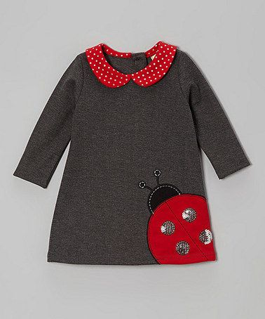Look at this #zulilyfind! Charcoal Ladybug Dress & Diaper Cover - Infant & Toddler #zulilyfinds