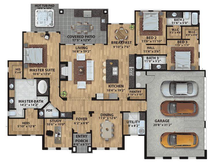 Best 25 3 car garage plans ideas on pinterest 3 car for Side load garage house plans