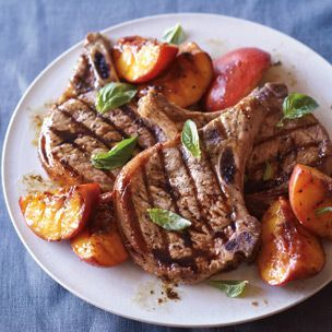 Grilled Pork Chops with Caramelized Peaches and Basil = Dinner tonight