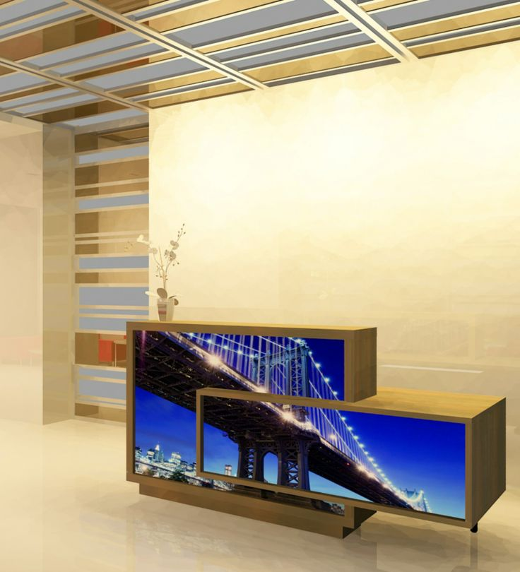 Graphics at the front of a reception desk add an individual look to any place. How do you like this Foro reception desk?