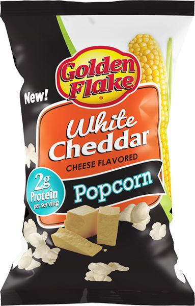 These air popped kernels are deliciously covered with real white cheddar cheese. Description from goldenflake.com. I searched for this on bing.com/images