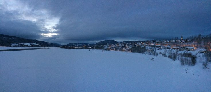Lillehammer in evening-wear, from Vingnes Bridge, a steinkast from my ancestors' last home in Kobberberget.