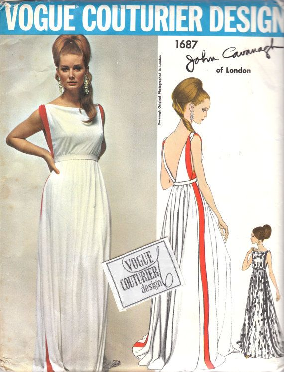 Gorgeous 1960s Evening Dress Pattern V1687: maxi summer dress with low v neckline in back