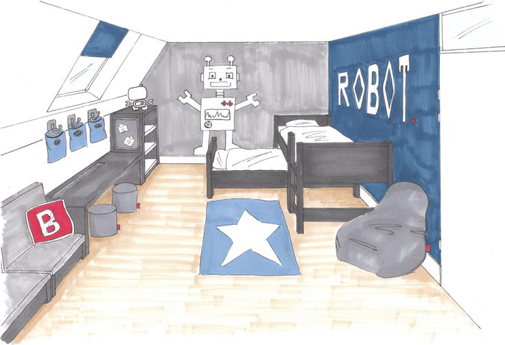 A 3D interior design of a sleepingroom. I designed it for 2 brothers at the age of 4 and 6 years old.