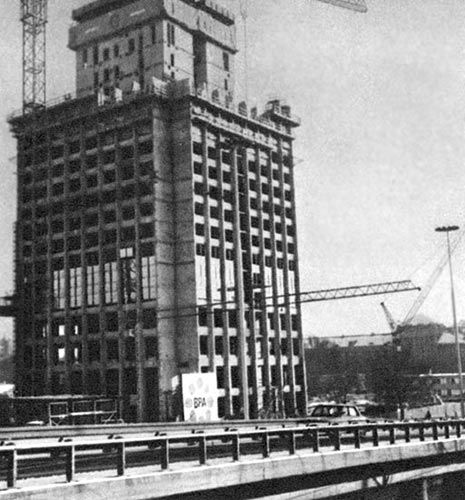 """Budowa Intraco II, popularnie zwanego """"Elektrim"""", a wtedy okreslanego jako Bank Handlowy."""