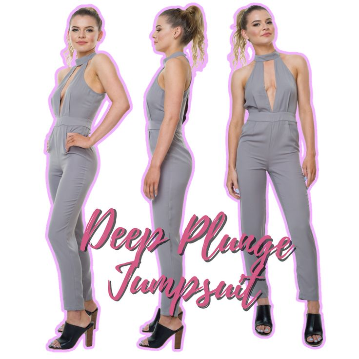 Killing it in our Deep Plunge Jumpsuit in Grey. ⚡ You know the drill, link in our bio!