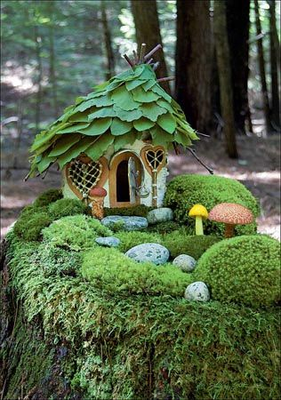 Moss Garden Cottage, a magical blank greeting card featuring an image of a fairy cottage.