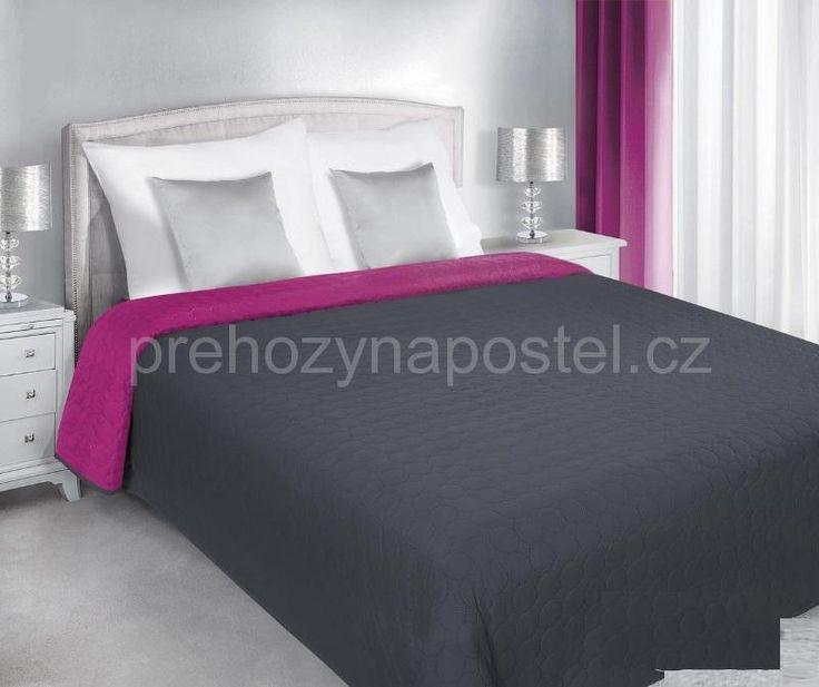 Přehoz na postel oboustranný šedo fialové barvy s prošíváním