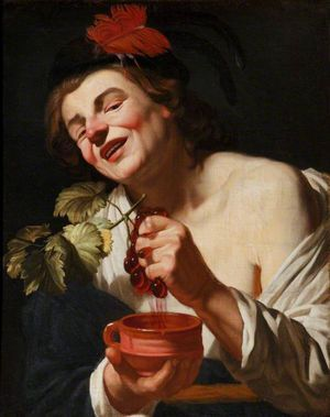 A Bacchic Young Man Squeezing Grapes into a Cup, c.1622