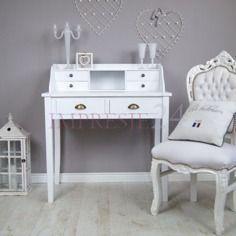 Stylowe, białe biurko | Stylish, white desk #stylowe #białe #biurko #salon #pokój #wystrój #wnętrza #stylish #white #desk #living_room #room #interior