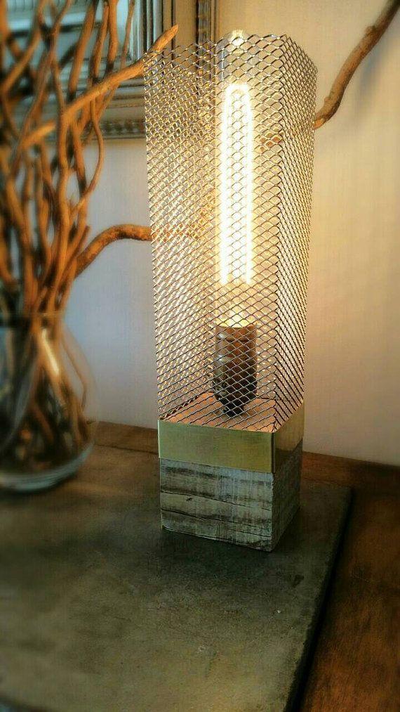 "Handmade rustic wood lamp, wood lamp, Industrial lamp, Edison lamp, Desk lamp, Rustic lamp, Lamp, Edison bulb, table lamp,""Golden Cube cage"""