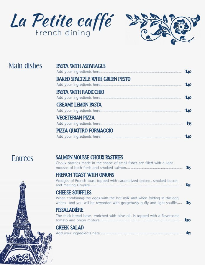 Modern Minimalist French Cafe Menu Template And Background