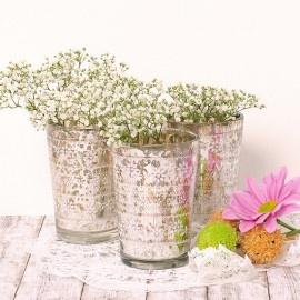 Vaso para vela de cristal antiguo decorado
