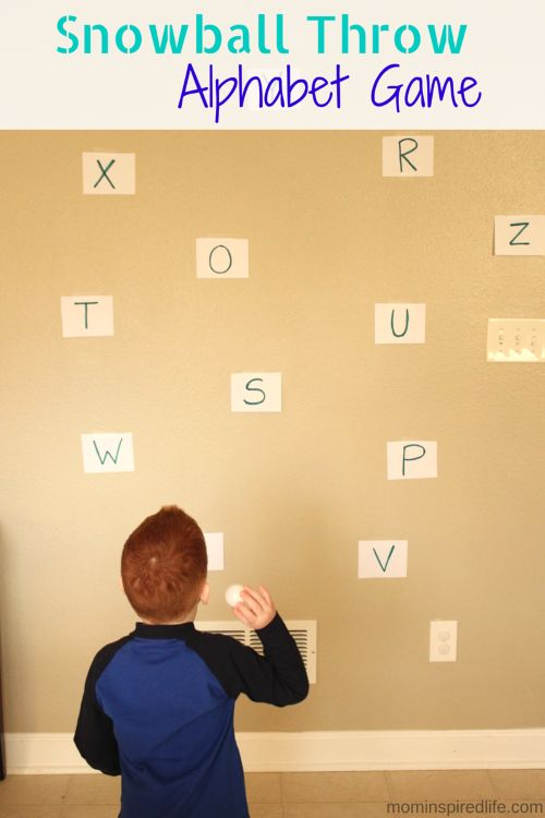 Snowball Throw Winter Alphabet Game. Active winter letter learning activity for preschoolers!