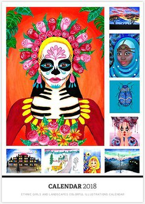 Ethnic Girls and Landscapes Colorful Illustrations Calendar for 2018. 16 colorful paintings and illustrations of Ethnic girls and landscapes. Images vary from a sugar skull girl to an African sunset and from Indian girls to snowy landscapes.